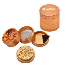 HONEYPUFF Aluminum Groove Grinder by AeroSpaced 53MM 4Piece Metal Smoking  Grinders CNC Toothless Tobacco Crusher