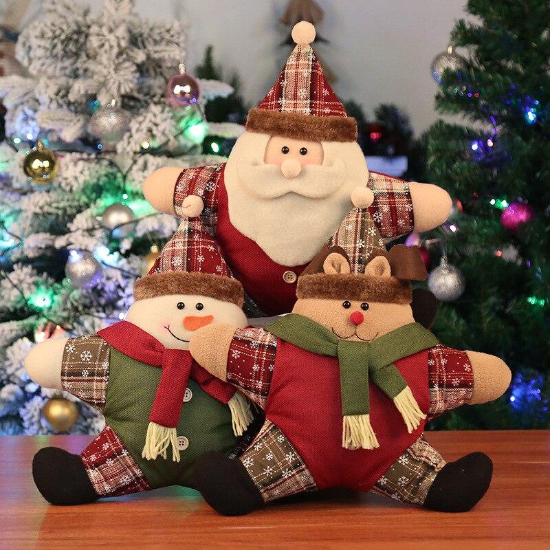 Natal Pentagrama Travesseiro Presente de Natal Feliz Natal Alces Papai Noel Navidad Decorações de Natal para Casa Almofada Decoração Da Sua Casa