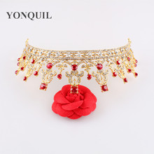 Charming Red Rhinestone Crown Geometric Rhinestone Tiara Fashion Wedding Hairband Hair Accessories Bridal Jewelry New MYQC007