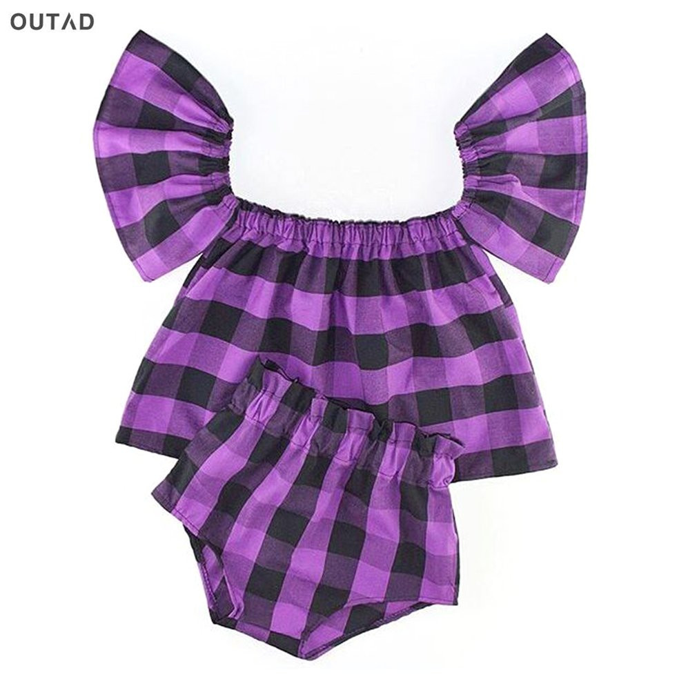 OUTAD 2PCS Summer Baby Girl Clothes Off Shoulder Strapless Purle Black Plaid Tops + Shorts Fashion Baby Girls Clothes New Sale