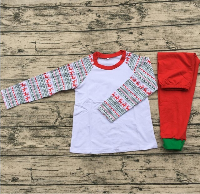 016196427a6 latest design raglan sleeve elk printed style children clothes baby  christmas pajamas wholesale