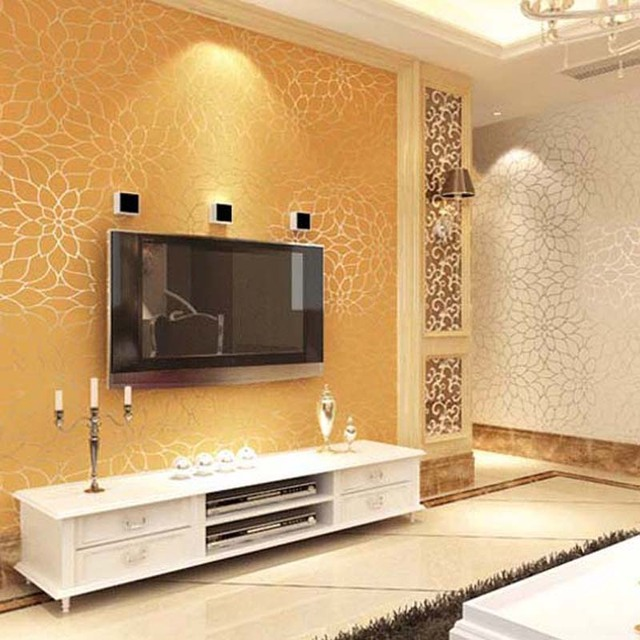 10M High Quality Embossed Damask Style Non Wallpaper Lotus Flower Wall Paper Rolls For Living Room Bedroom Gold White
