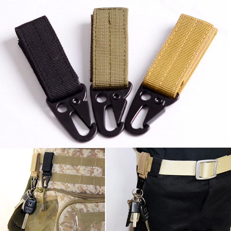3 Colors Men Nylon Outdoor Practical Metal Tactical Key Holder Hook Multifunction Strap Clip Belt Key Buckle Convenient 2018