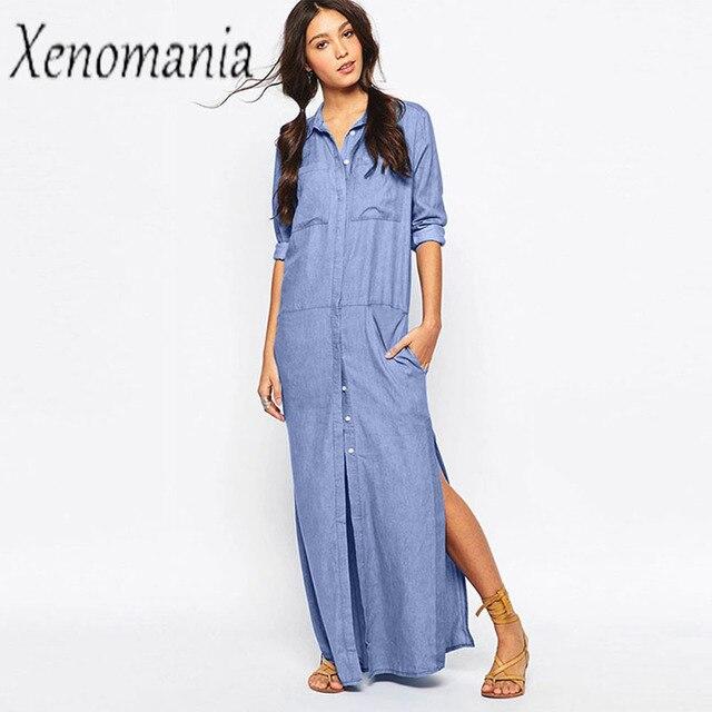 Abiti Denim Donna Plus Size Abito Manica Lunga Maxi Vestito camicia Vestido  Jeans 2018 Robe Femme a2f2722896e