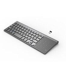 Mini bezprzewodowa klawiatura z panelem dotykowym do gry komputerowe bezprzewodowa klawiatura 2.4GHz przenośna do laptopa Tablet