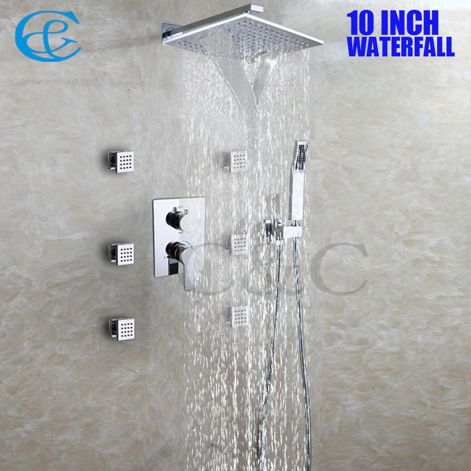 10 Inch Chrome Copper Rain And Waterfall Shower Head Set Brass Hand Shower  Holder Easy Installation Bathroom Shower Faucet  In Shower Faucets From  Home ...
