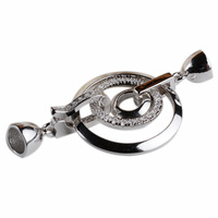 Solid 925 Sterling Silver 3 Circles Push End Cap Clasp for Pearl Beaded Jewelry Rhodium Plated Cubic Zirconias Mounted