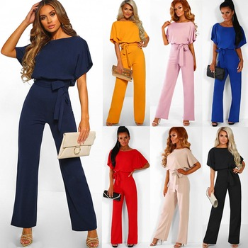 Women Cotton Bandage Jumpsuit Summer Fashion 2019 Short Sleeve Playsuits Clubwear Straight Leg With Belt Overalls Bodycon Ladies 2