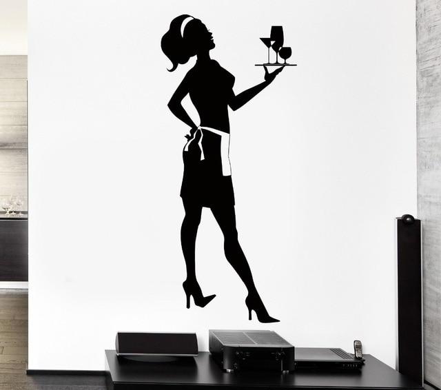 Baru Kedatangan Restoran Dinding Vinyl Decal Kreatif Ibu Rumah Tangga Pelayan Gadis Server Mural Wall