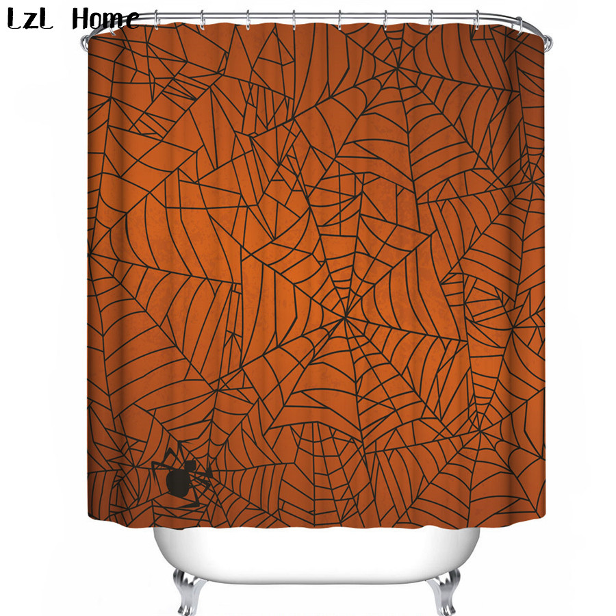 LzL Home 3d Halloween Spider Curtain Bathroom Polyester Waterproof Shower Curtain Fabric Halloween Decoration For Home Curtains