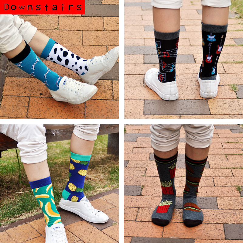 Downstairs AB Matching Socks Unisex Different Design Combinations Funny Cotton Long Women Men Happy Calcetines Gifts For Lovers