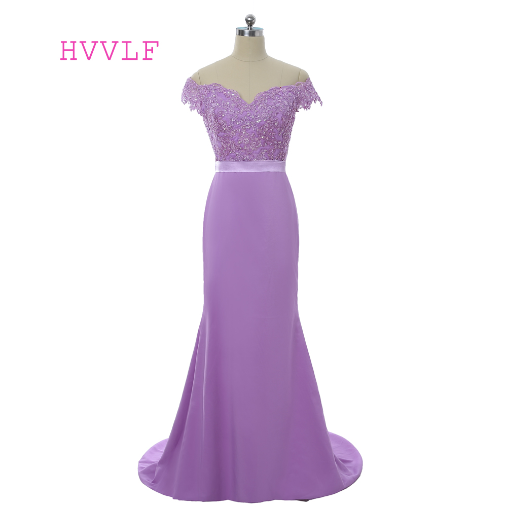 Lavender 2019   Bridesmaid     Dresses   Cheap Under 50 Mermaid Deep V-neck Cap Sleeves Lace Beaded Long Wedding Party   Dresses
