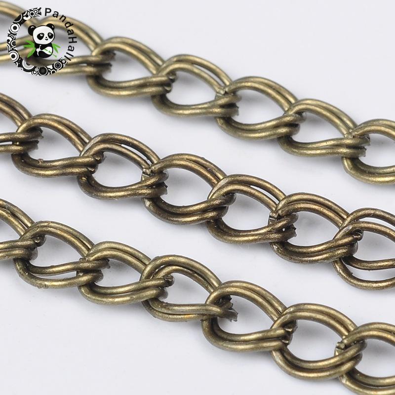 ᓂHierro doble cadena, color de bronce antiguo, viene en carrete ...