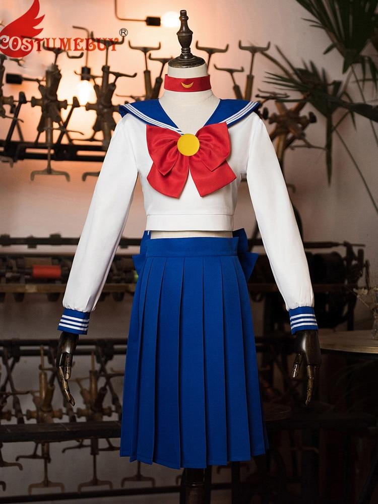 Costumebuy Sailor Moon Cosplay Navy Sailor Venus School Uniform Costume Set Halloween Kawaii Girl Long Sleeve Dress Skirt