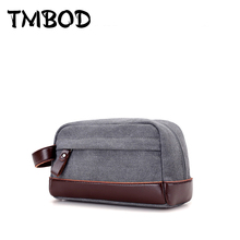 New Fashion Design Men Canvas & PU Leather Envelope Bags Casual Day Clutch