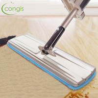 Congis Hand wash free floor mop 360 degree rotation Microfiber Flat mops for home cleaning Long Handle Household Cleaning Tools