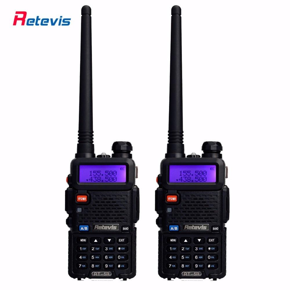 2pcs Portable Walkie Talkie Retevis RT 5R 5W VHF UHF 136 174 400 520MHz Handy Ham