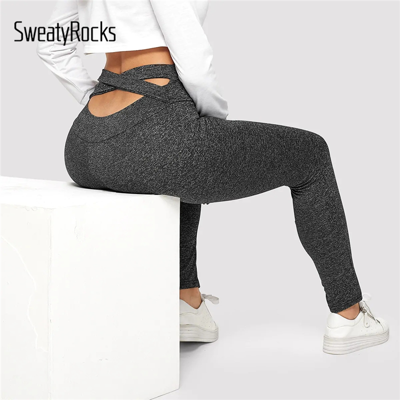 SweatyRocks Criss Cross Solid   Leggings   Activewear Women Workout Skinny   Leggings   2019 New Spring Casual Fitness Grey   Leggings