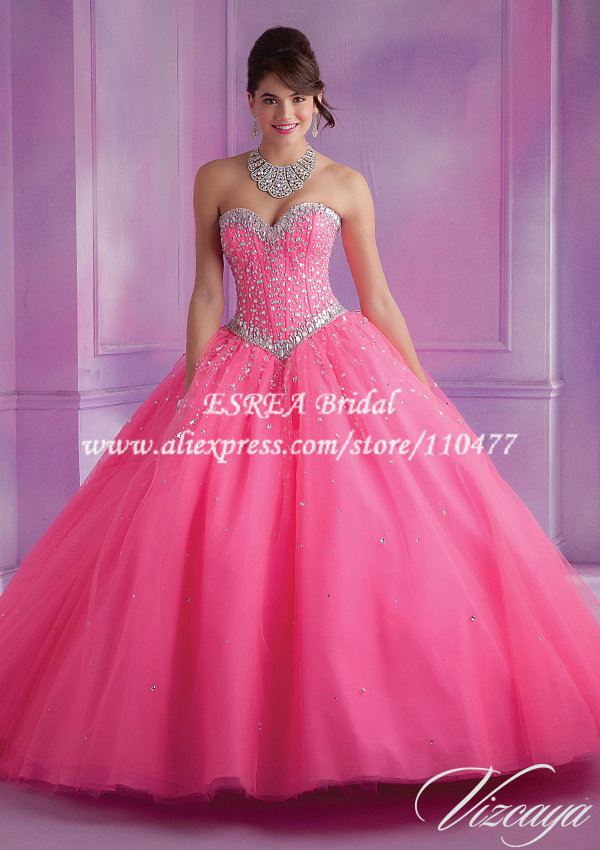 Luxury Crystal Bodycon Hot Pink Quinceanera Dresses Ball Gowns ...