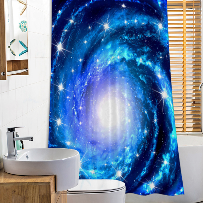 180x180cm Shower Curtains 3d Galaxy Printed Waterproof Bath Curtain With Hooks Polyester Fabric Shower Curtains Bathroom Curtain