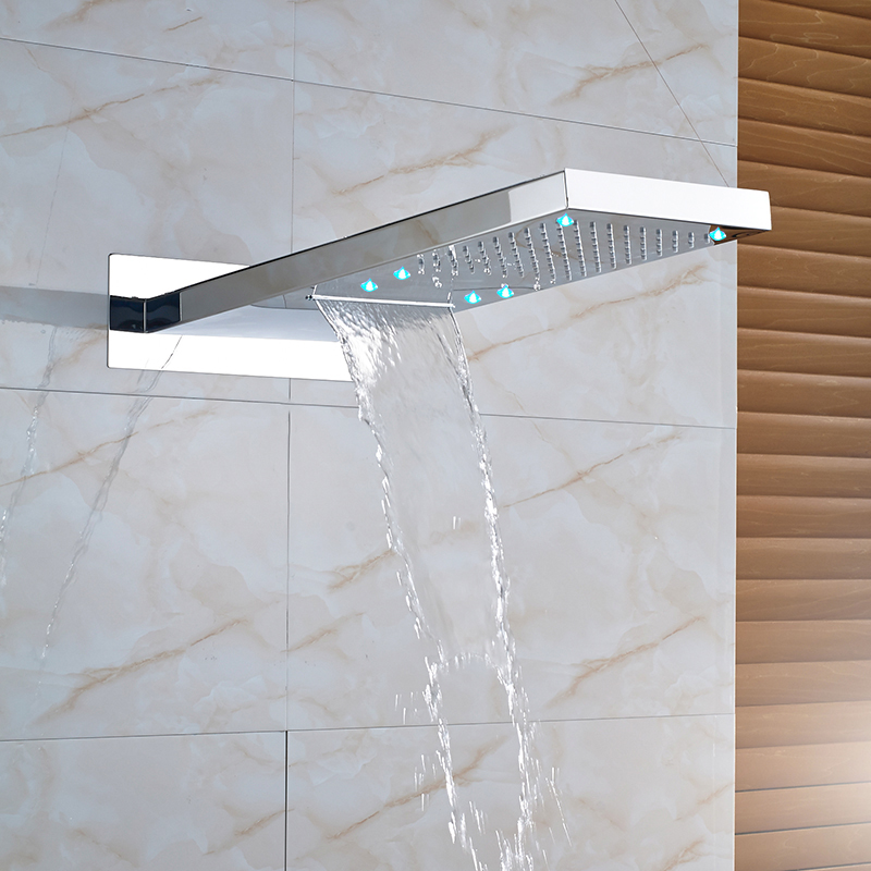 Rain Waterfall Shower Head Chrome LED Showerhead Wall Mount 2 Function Water Outlet Shower Replace Head Faucet AccessoryRain Waterfall Shower Head Chrome LED Showerhead Wall Mount 2 Function Water Outlet Shower Replace Head Faucet Accessory