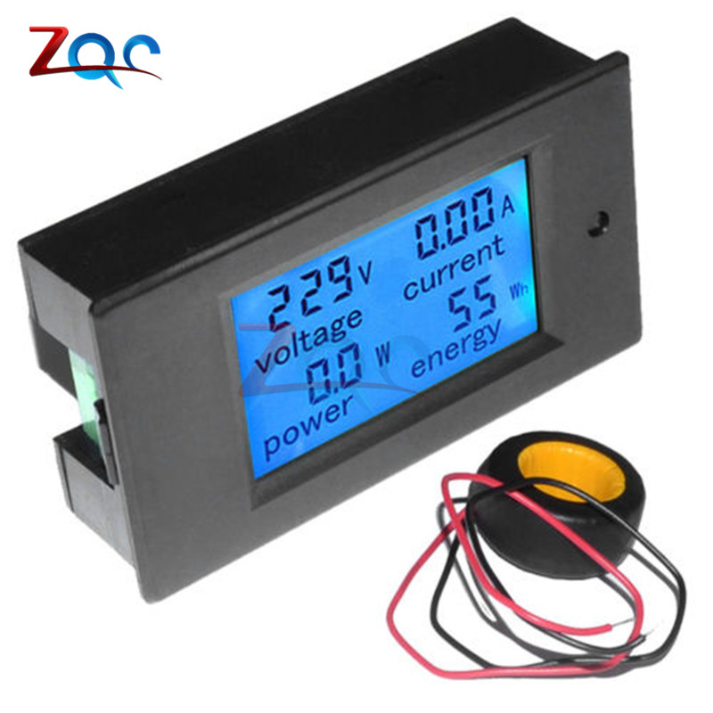 AC 80V-260V 100A 20A 4 in 1 LCD Display Digital Current Voltmeter Ammeter Power Energy Multimeter Panel Tester Meter Monitor 20a ac digital lcd panel power meter monitor power energy ammeter voltmeter blue backlight dual measuring 80 260v