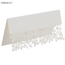 HOMEBEGIN 50pcs Tree Leaf Laser Cut Table Name Guest Mark Card Place Card Wedding Favors Wedding Decoration Event Party Supplies