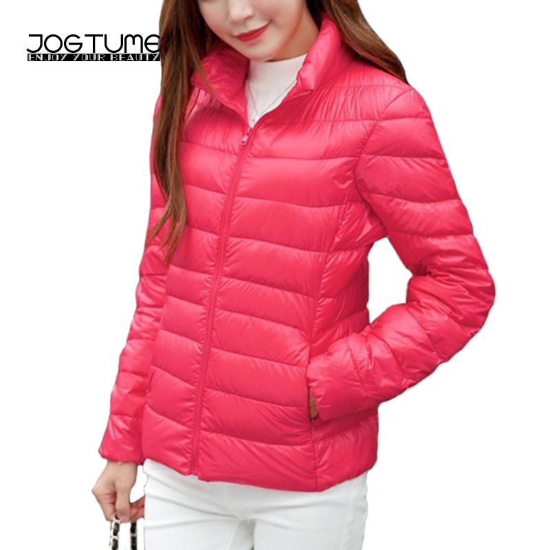 JOGTUME Plus velikost 4XL 5XL 6XL teplé bundy 2017 podzimní dámské kachna dolů módní kabát s dlouhým rukávem dámské Slim Ultra-tenká bunda