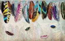 minimalist fashion colorful hand drawn feather texture art background wall