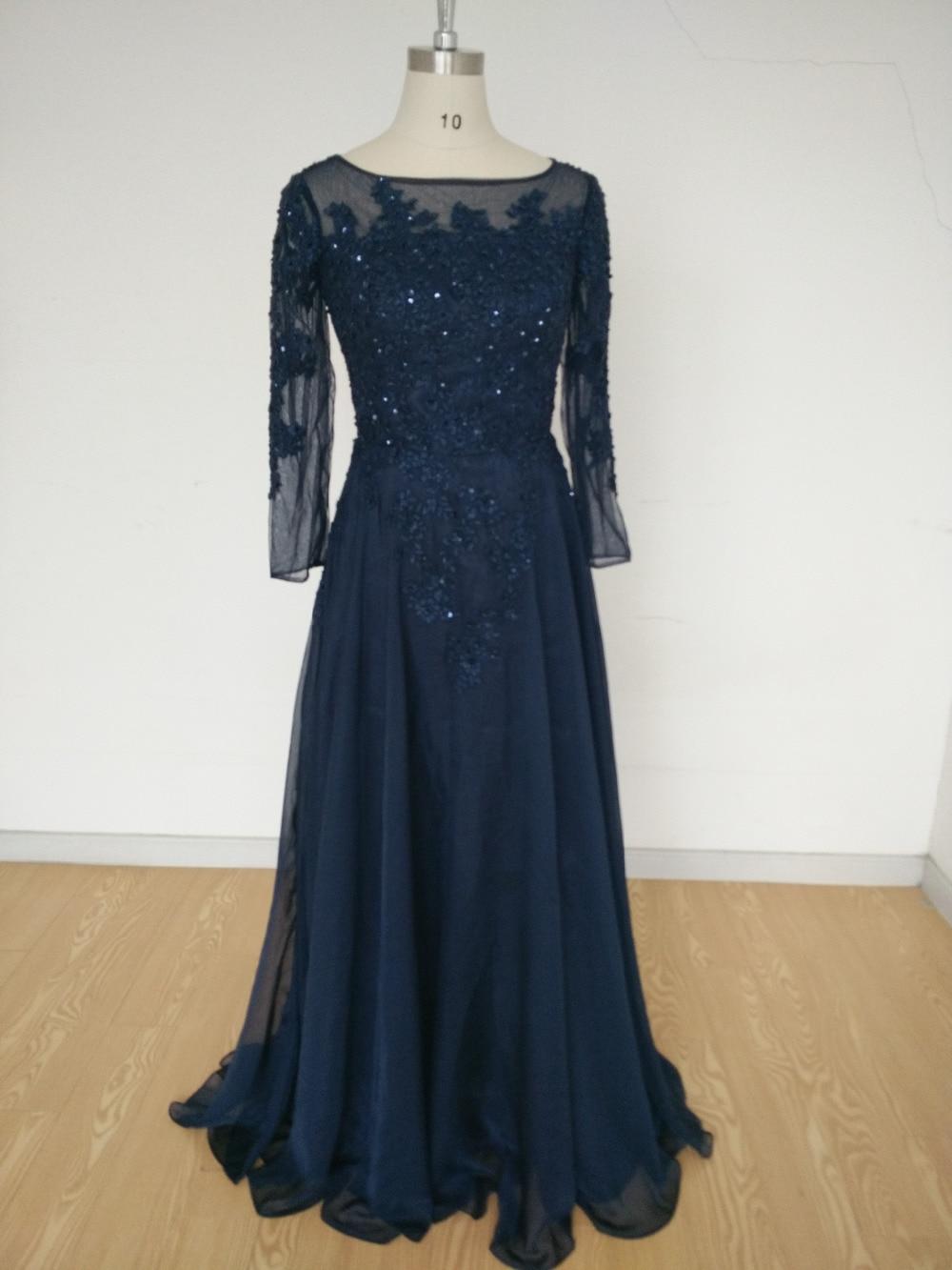 2015 Navy Blue Evening Dress Lace Sequined Applique
