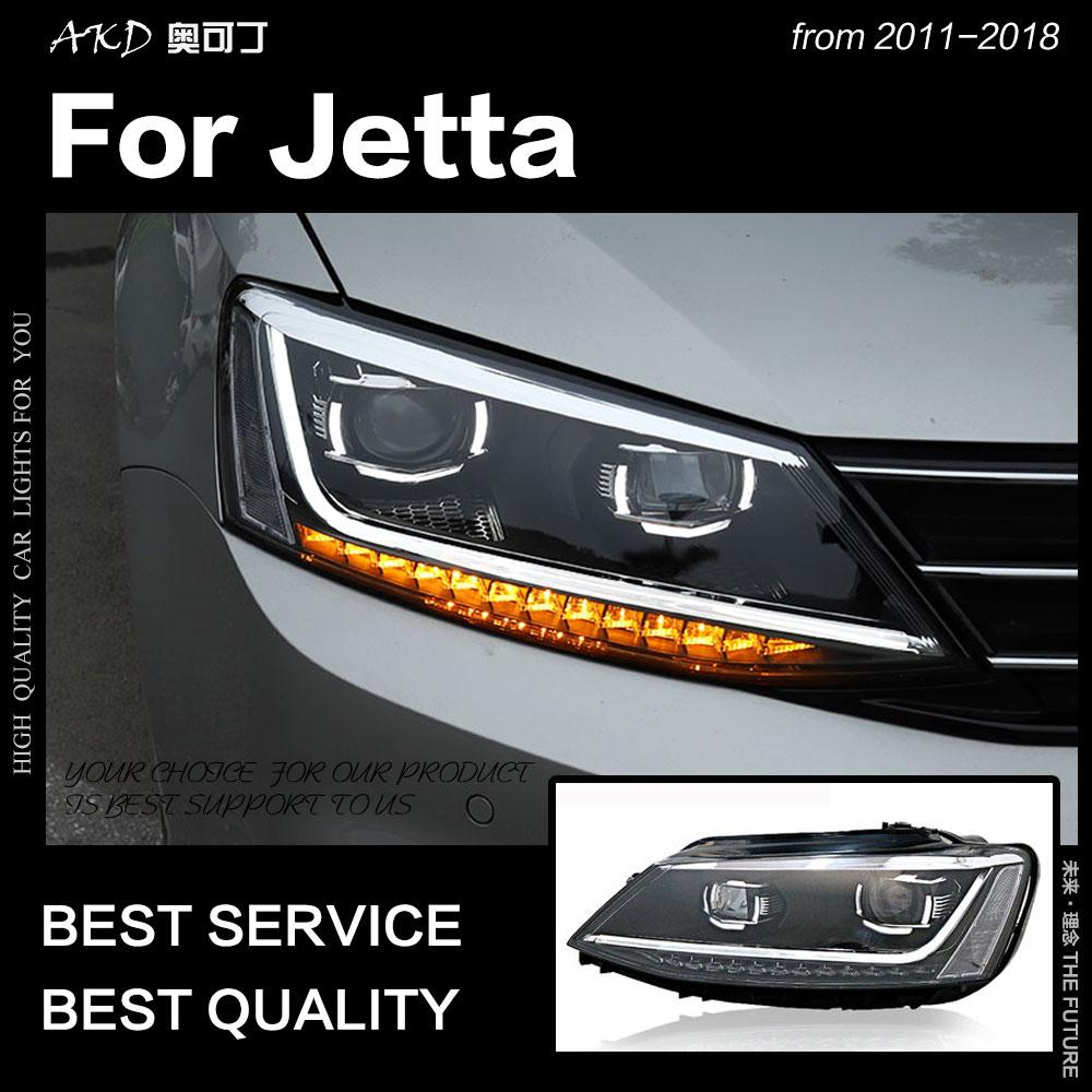 AKD Car Styling Mk6 LEVOU Farol Lâmpada de Cabeça para VW Jetta 2011-2018 Projeto R8 Faróis Drl Hid Bi xenon Auto Acessórios