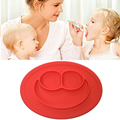 1Pc Silicone Children Dinner Plate Integrated Forming Smiling Face Foods Separated Babies Platemats Dinnerware Table Accessories