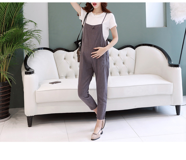 Fashion Summer Pregnancy Clothes Cotton Maternity Pants Suspender Trousers Belly Band & Support Overalls For Pregnant Women