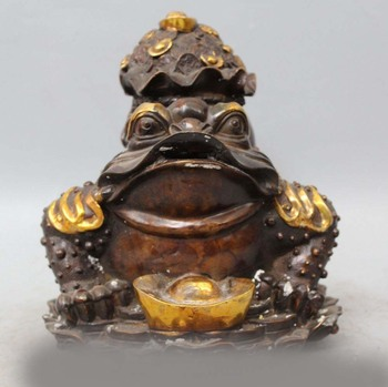 "12 ""Chino de Bronce Dorado Riqueza Yuanbao Dinero Bolsa Ru Yi Spittor Toad Estatua Animal"