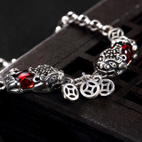 Armbanden Voor Vrouwen S925 Pure Silver, Antique Thai Mosaic Pomegranate Red, Fortune Two Ladies' High end Bracelet Wholesale