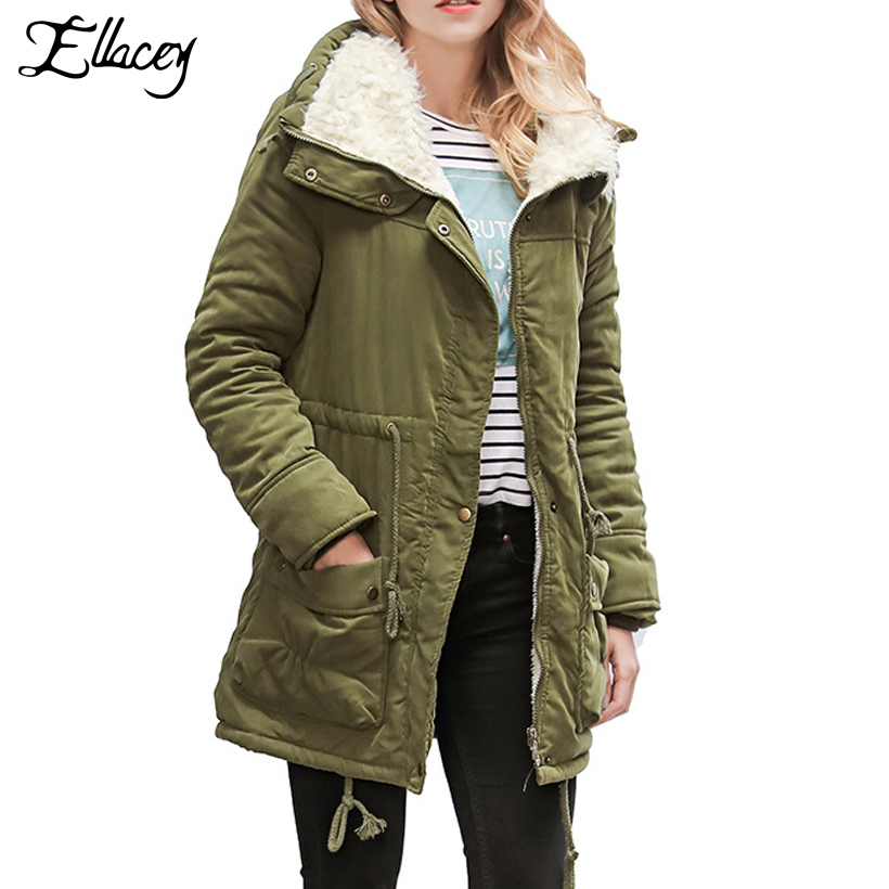 plaid down jacket with pockets Ellacey 2017 Winter Women's Down Jacket Big Pockets Warm Thick Long Coat Female Outwear Artificial Lamb Down Parkas Women Coats