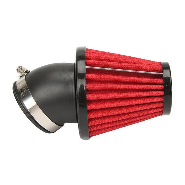 35mm 42mm 48mm rojo de la motocicleta del filtro de aire de 45 grados de curvatura de setas de admisión de aire filtros de entrada de goma para honda yamaha kawasaki