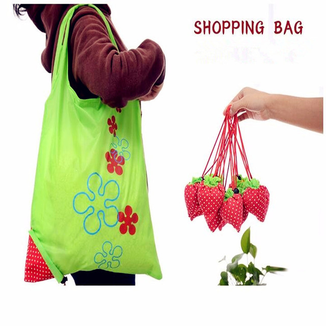 reusable large volume strawberry folding ecobags foldable tote