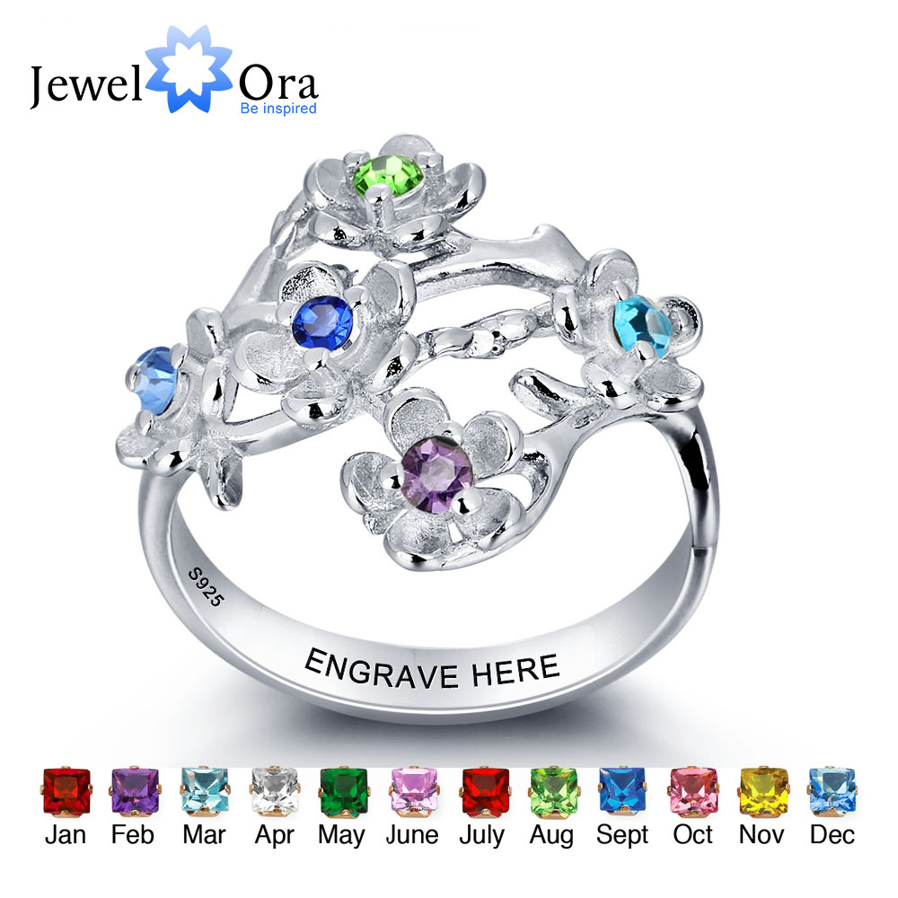 Name-Ring Birthstone Jewelry Party-Accessories Women Jewelora for Engrave