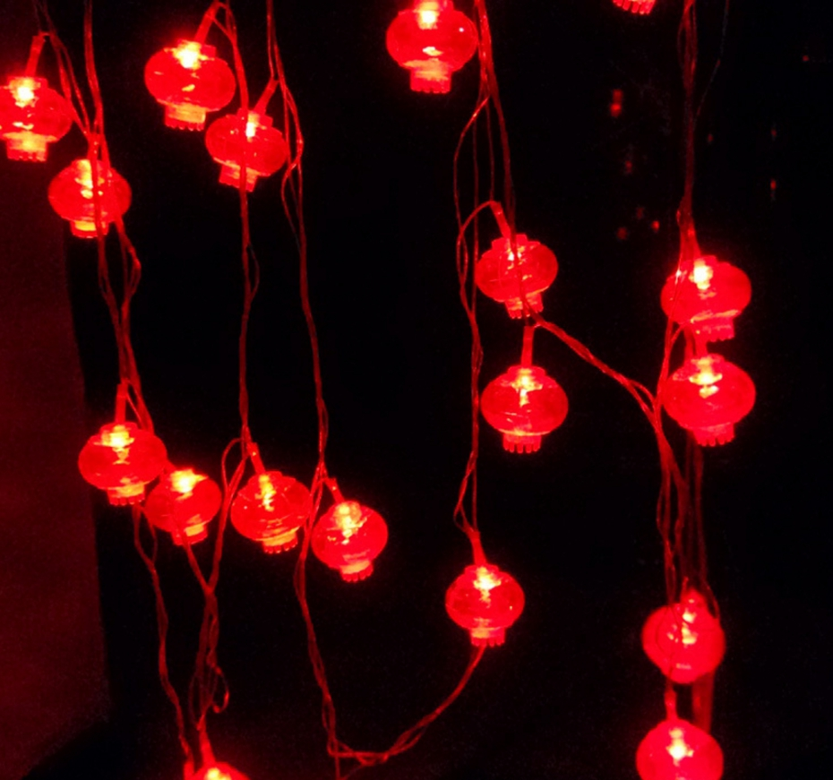 YINGTOUMAN 2pcs/lot 4m 20led Red Lantern String Fairy Lights New Year Christmas Decoration Plugs Decorative Light For Wedding
