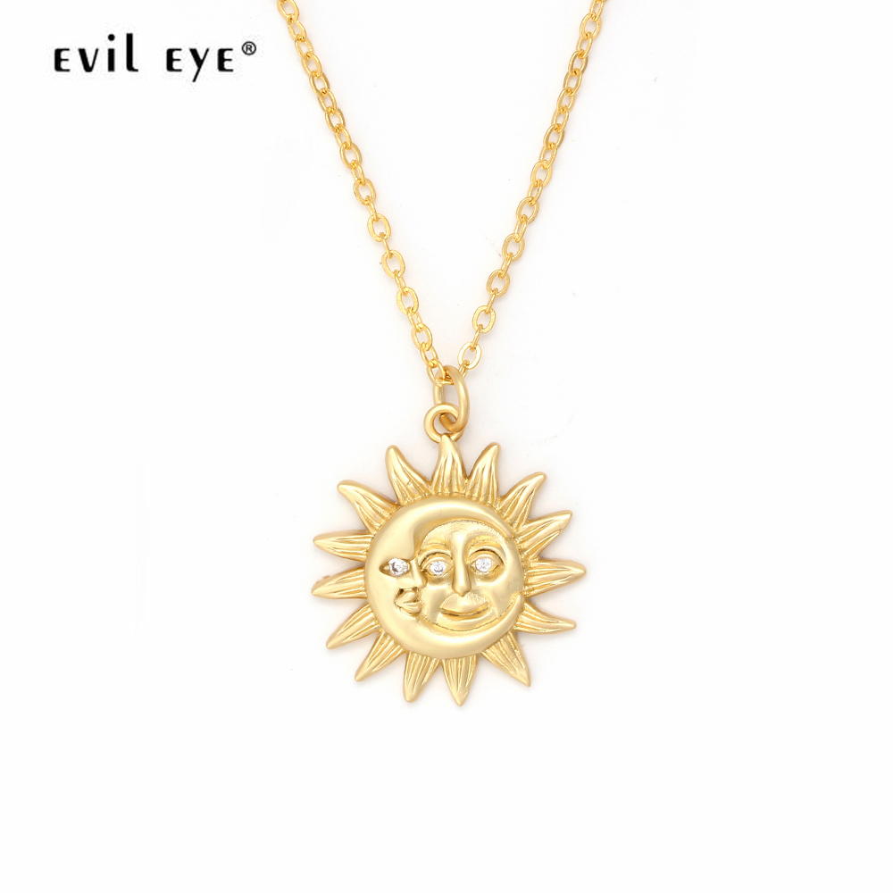 Evil Eye Golden Sun And Moon Pendant Chain Necklace Women Choker Jewelry For Best Friends Lovers Neckless Gifts EY6168(China)