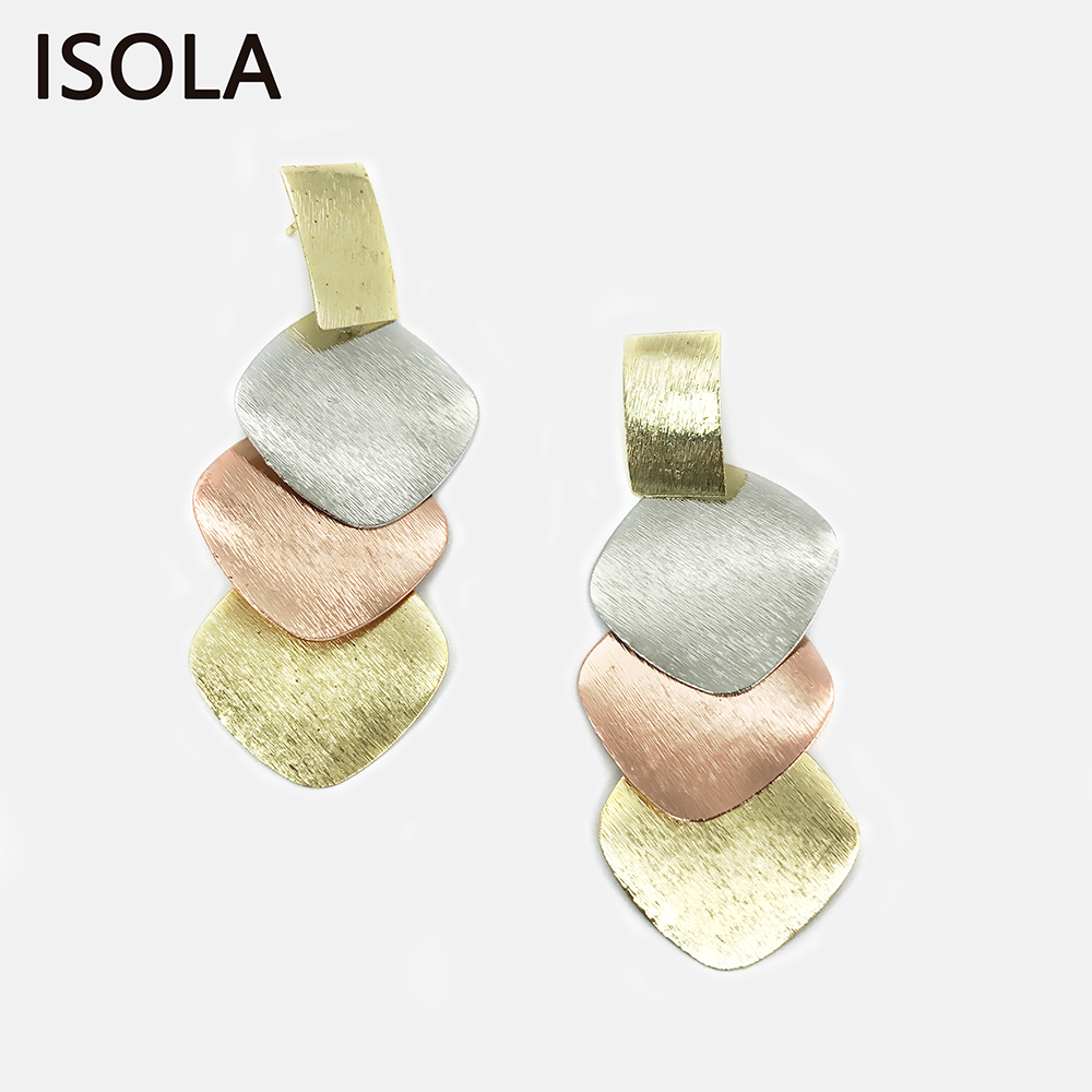 ISOLA Brushed Minimalist Multilayered Tiered Earrings Square Shape Statement Charming Rose Gold Color Stacked Drop Earring