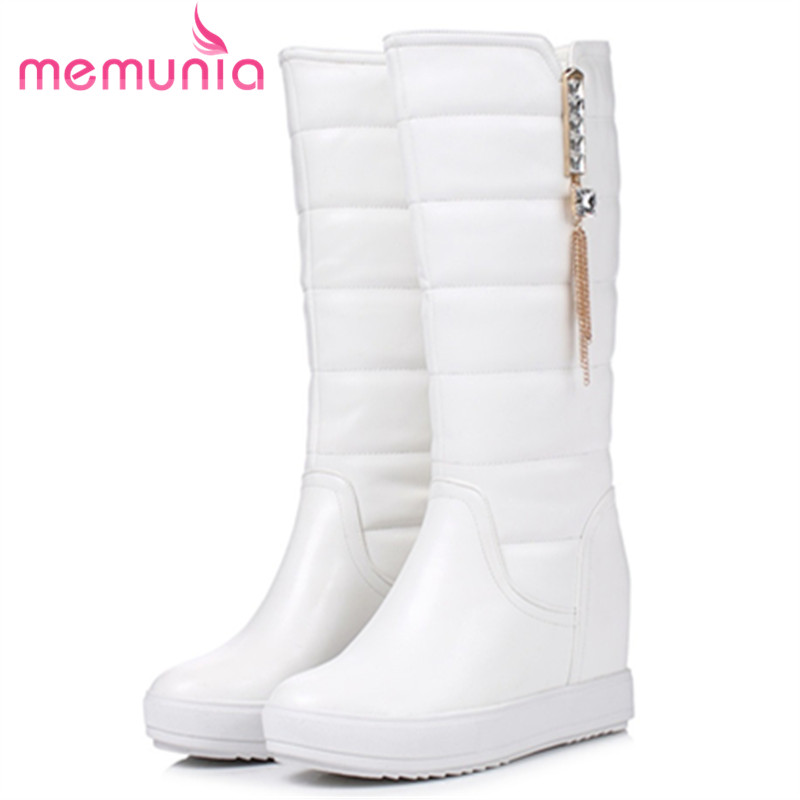 MEMUNIA 2018 Keep warm mid calf boots woman PU fashion snow boots in winter height increasing half boots platform shoes memunia 2018 half boots for women spring autumn mid calf boots fashion elegant pu nubuck leather shoes woman party flock