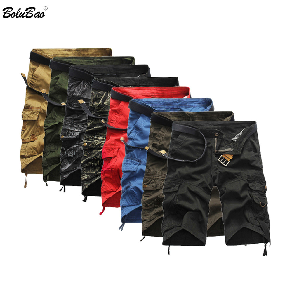BOLUBAO Men Cargo Shorts Casual Loose Short Pants Camouflage Military Summer Knee Length Plus Size 8 Colors Shorts Men