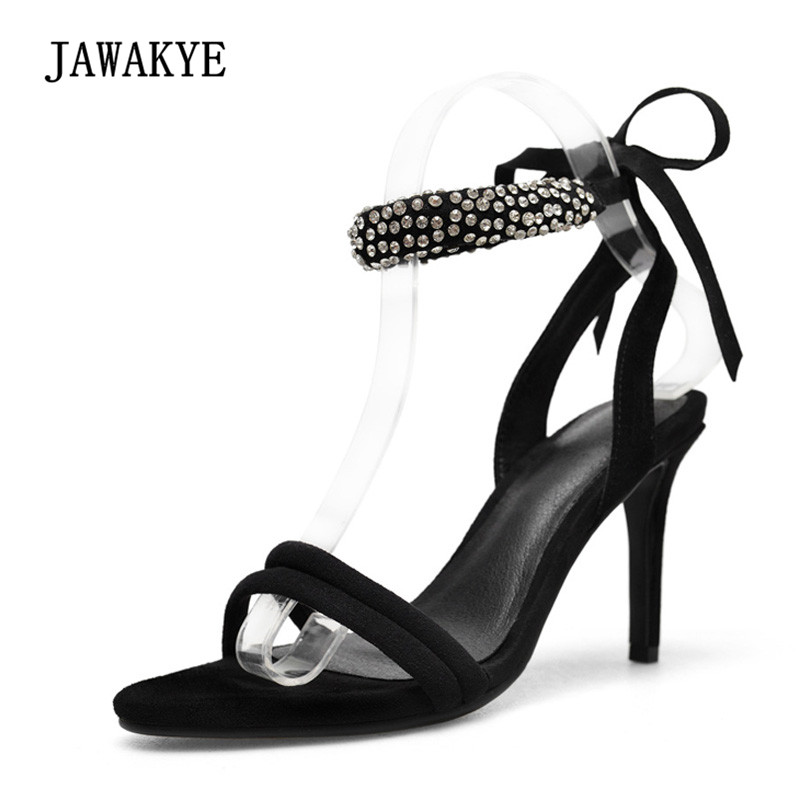 2018 Handmade Rhinestone Ankle Strap Gladiator Sandals Women Peep Toe Black Suede 9cm 7cm High Heel Shoes Woman Party Shoes