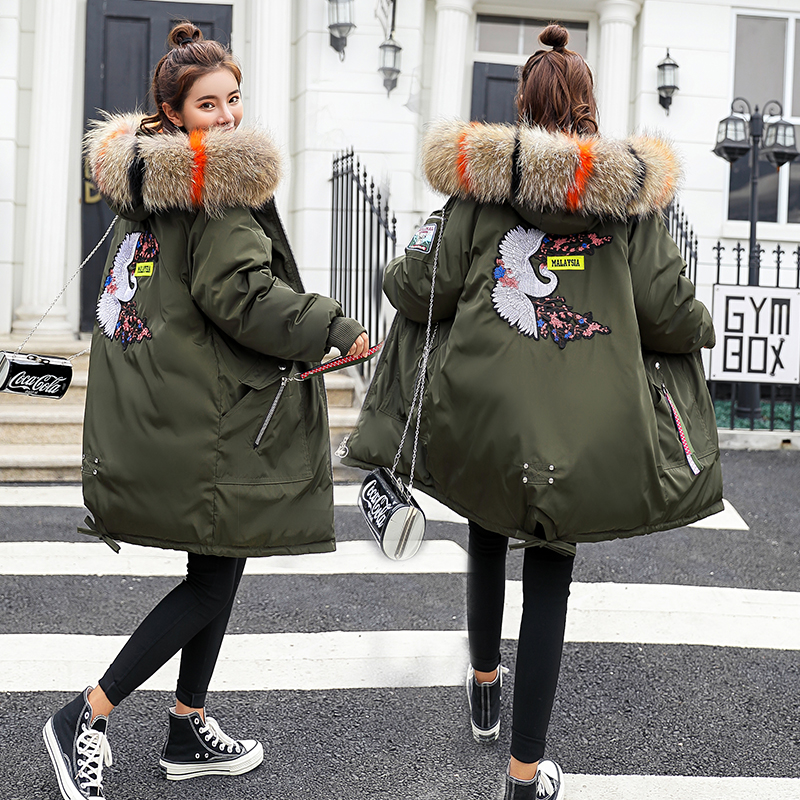 2018 Woman Maternity Pregnant Winter Medium and long section down jacket thick warm large fur collar new cotton coat female tide maternity winter coat pregnant women pregnant women cotton black coat large size coat tide tan collar thick long hooded jacket