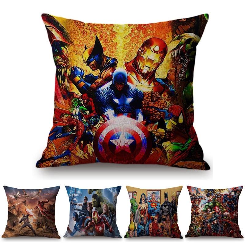 Super Heroes Superman Iron man Spiderman Sofa Pillow Case Cover The Avengers Cartoon Printing Chair Seat Waist Cushion Covers
