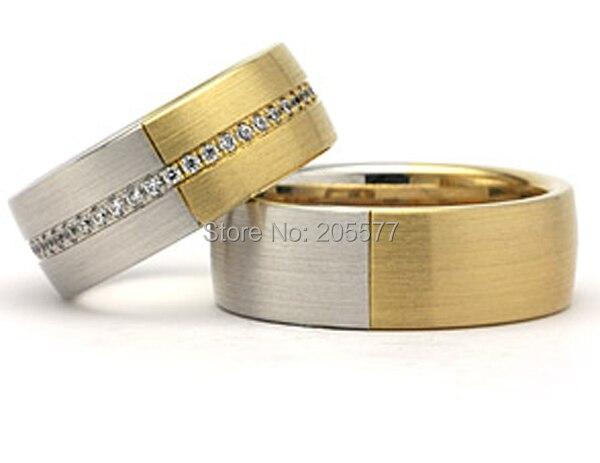 Deux tons titane cubique zircone cz pierre de mariage bague de fiançailles ensembles bijoux