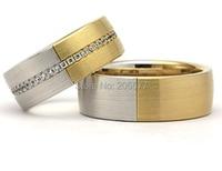 two tone titanium Cubic Zirconia cz stone wedding band engagement rings sets jewelry