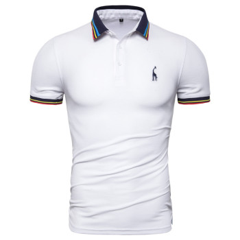 Dropshipping 2019 New Summer Cotton Polo Men Solid Deer Embroidery Short Sleeve Polo Shirt Men Fashion Polo Giraffe Mens Shirts